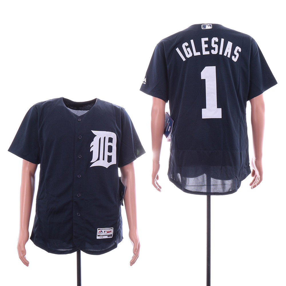 Tigers 1 Jose Iglesias Navy Flexbase Jersey