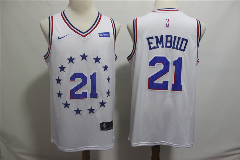 76ers 21 Joel Embiid White 2018-19 Earned Edition Nike Swingman Jersey