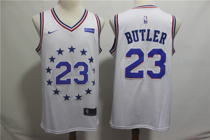 76ers 23 Jimmy Butler White 2018-19 Earned Edition Nike Swingman Jersey