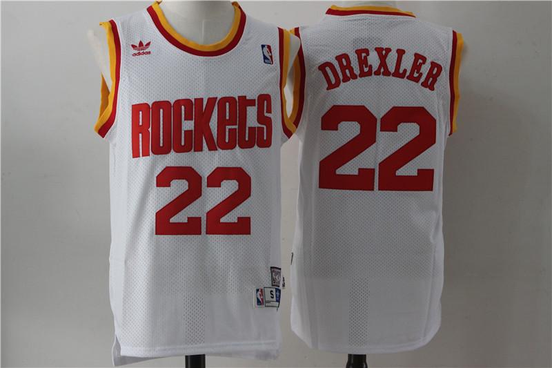 Rockets 22 Clyde Drexler White Hardwood Classics Jersey