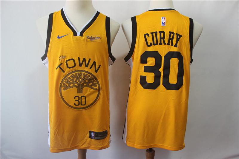 Warriors 30 Stephen Curry Yellow 2018-19 Earned Edition Nike Swingman Jersey
