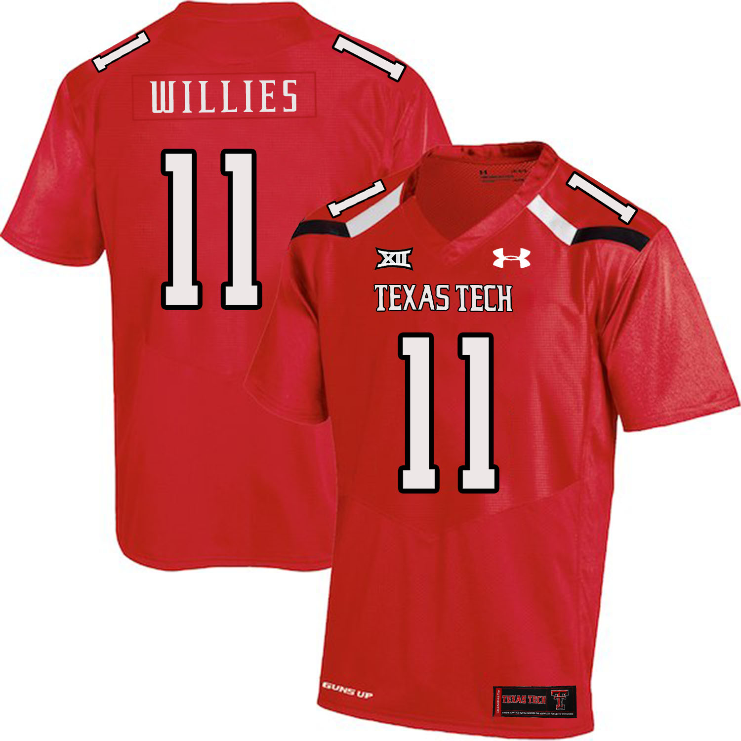 Texas Tech Red Raiders 11 Derrick Willies Red College Football Jersey