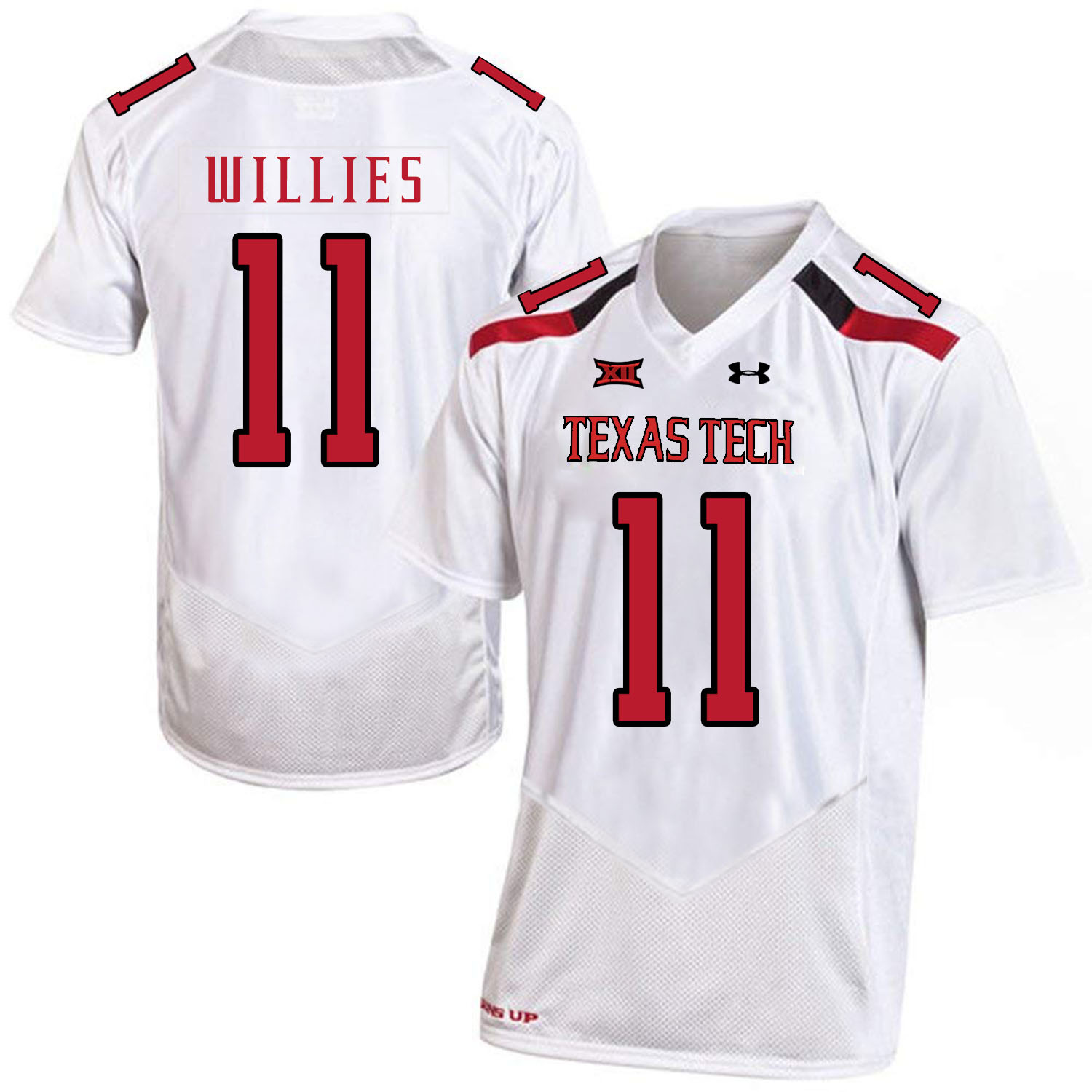 Texas Tech Red Raiders 11 Derrick Willies White College Football Jersey