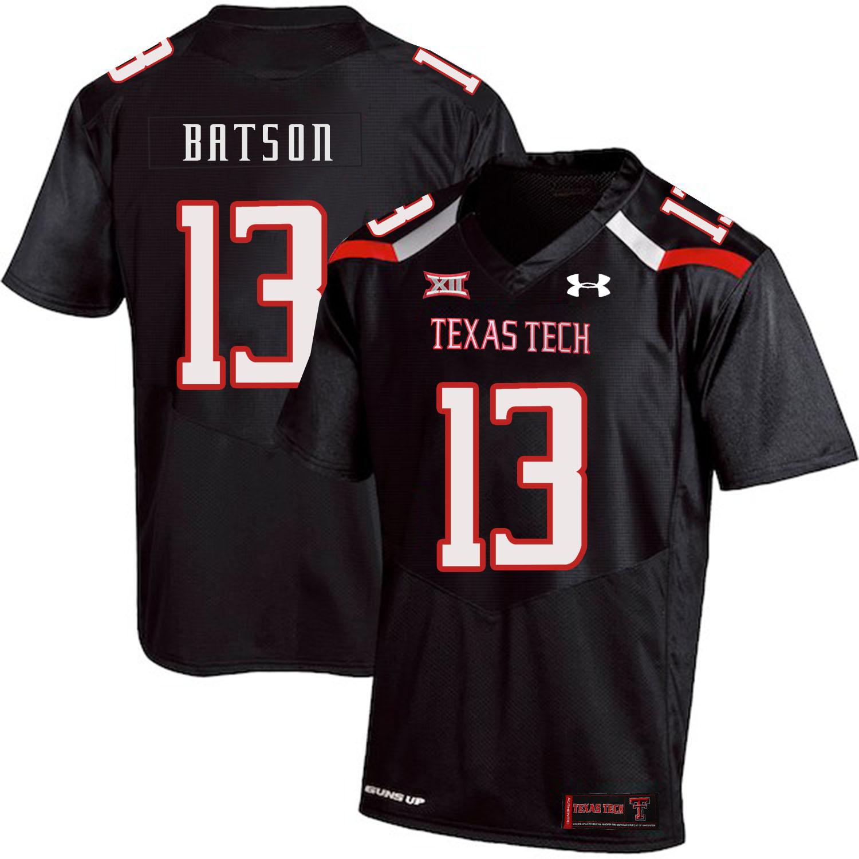 Texas Tech Red Raiders 13 Cameron Batson Black College Football Jersey