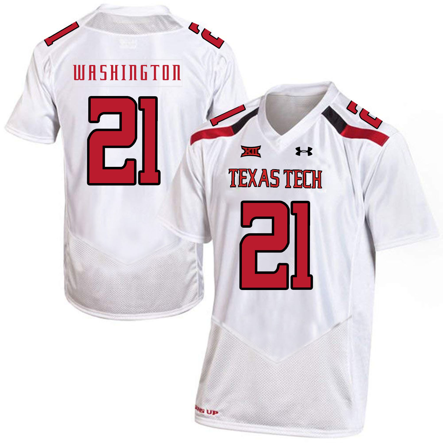 Texas Tech Red Raiders 21 DeAndre Washington White College Football Jersey