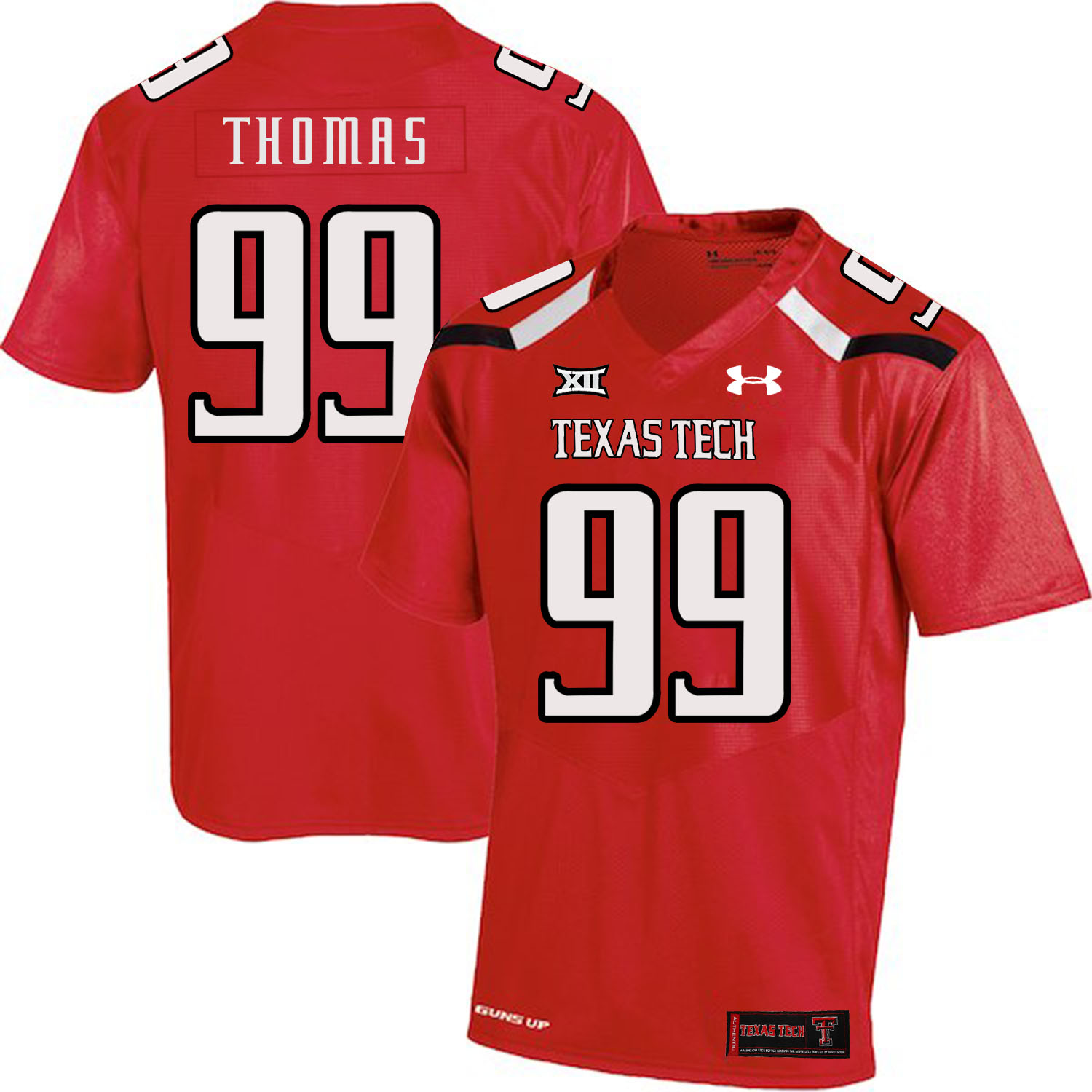 Texas Tech Red Raiders 99 Mychealon Thomas Red College Football Jersey