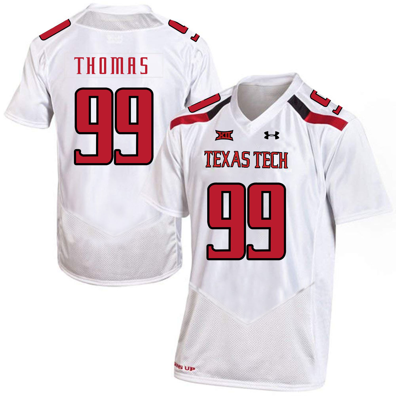 Texas Tech Red Raiders 99 Mychealon Thomas White College Football Jersey