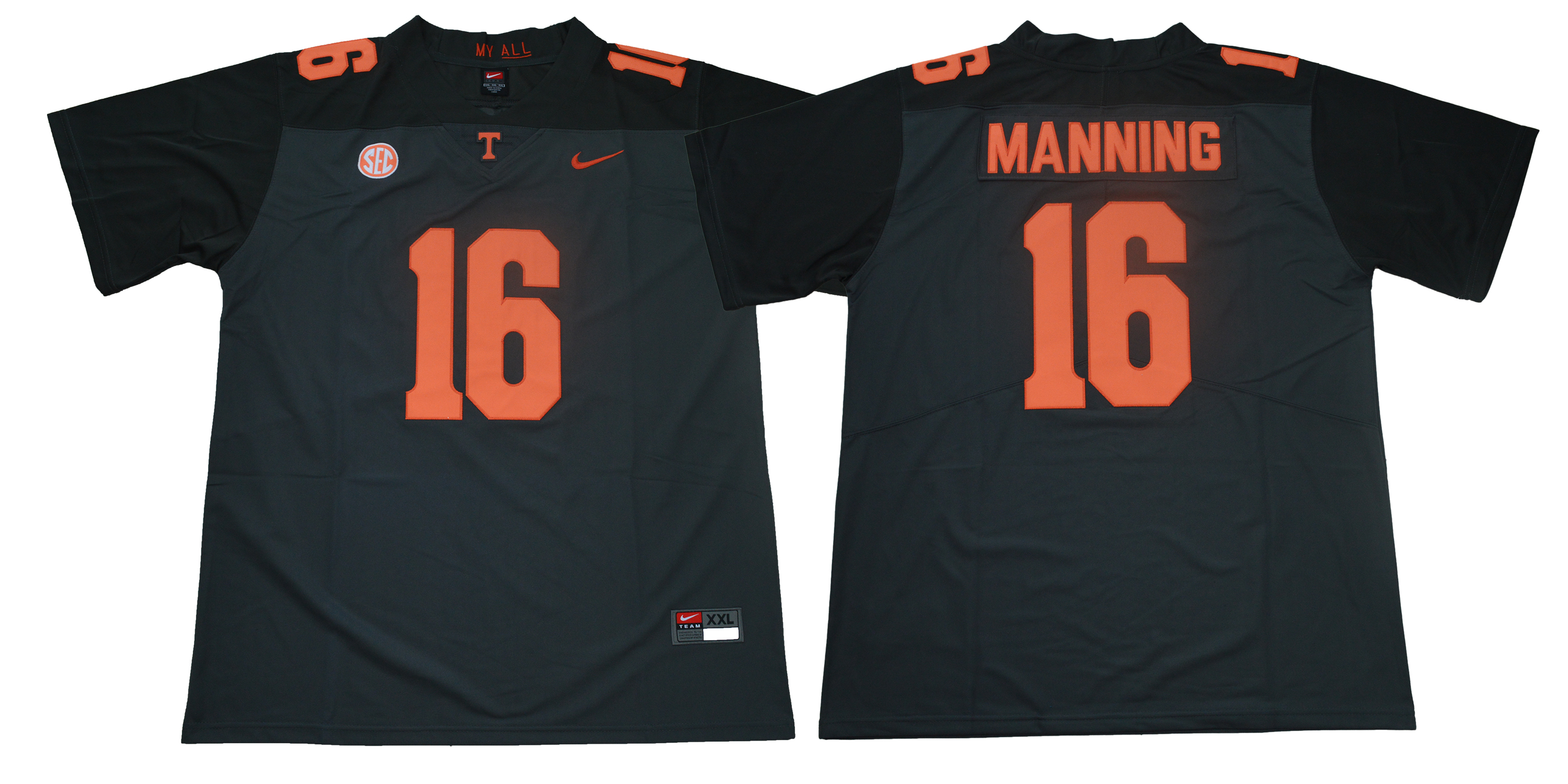 Tennessee Volunteers 16 Peyton Manning Black Nike College Football Jersey