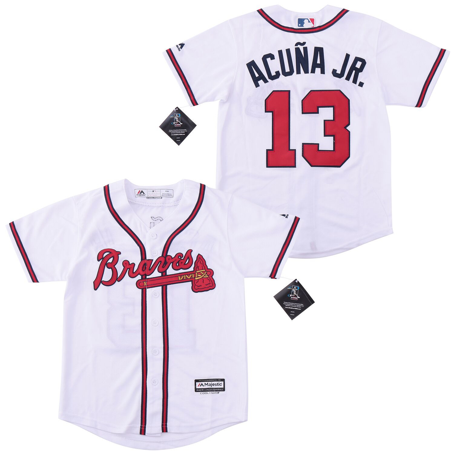 Braves 13 Ronald Acuna Jr. White Youth Cool Base Jersey