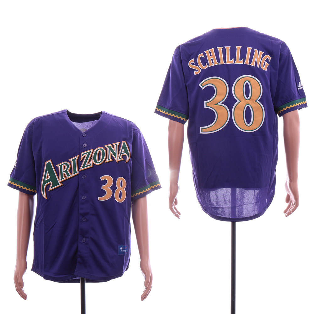 Diamondbacks 38 Curt Schilling Purple Throwback Jersey
