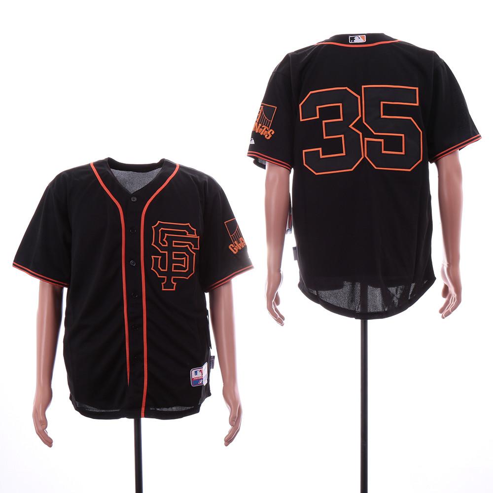 Giants 35 Brandon Carwford Black Alternate Cool Base Jersey