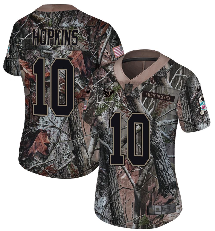 Nike Texans 10 DeAndre Hopkins Camo Women Rush Limited Jersey