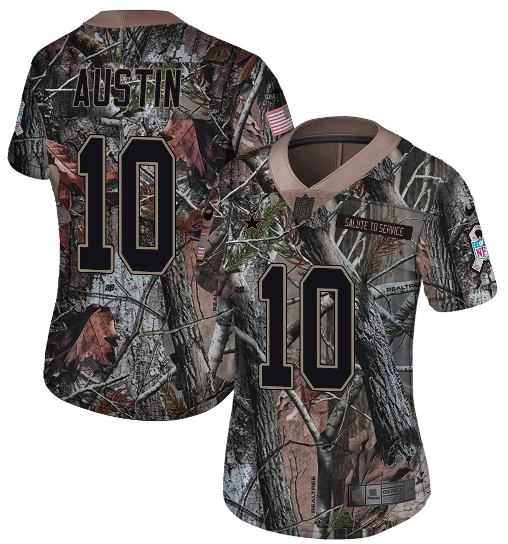 Nike Cowboys 10 Tavon Austin Camo Women Rush Limited Jersey