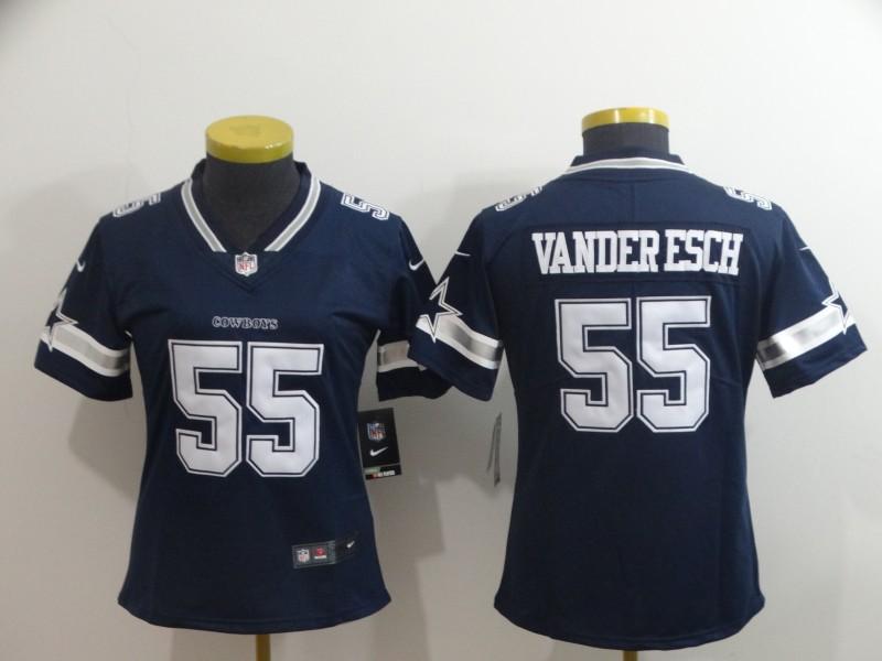 Nike Cowboys 55 Leighton Vander Esch Navy Women Vapor Untouchable Limited Jersey