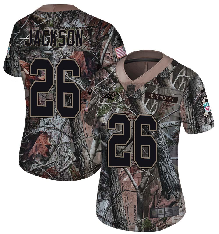 Nike Panthers 26 Donte Jackson Camo Women Rush Limited Jersey