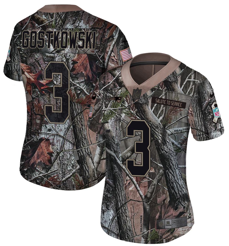 Nike Patriots 3 Stephen Gostkowski Camo Women Rush Limited Jersey