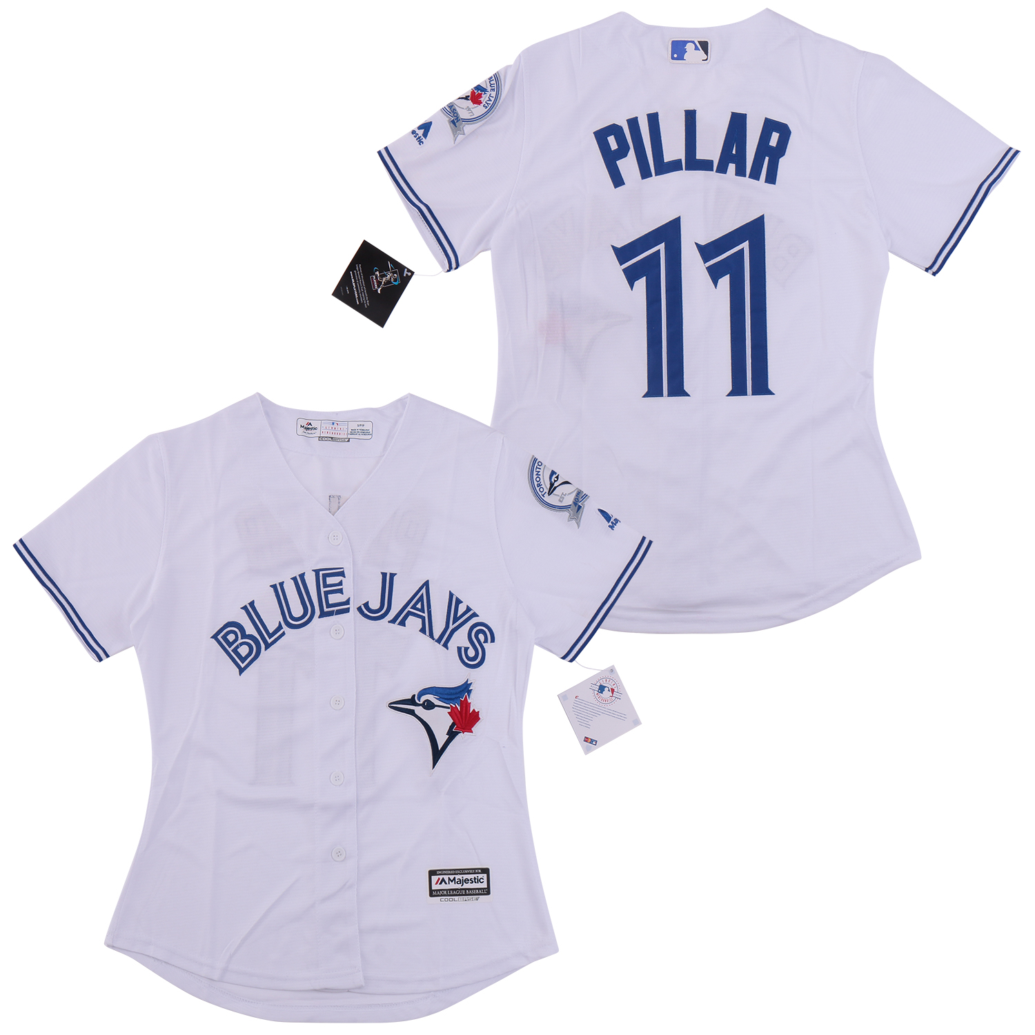 Blue Jays 11 Kevin Pillar White Women Cool Base Jersey