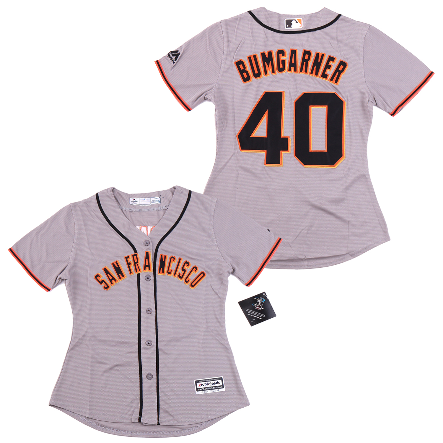 Giants 40 Madison Bumgarner Gray Women Cool Base Jersey
