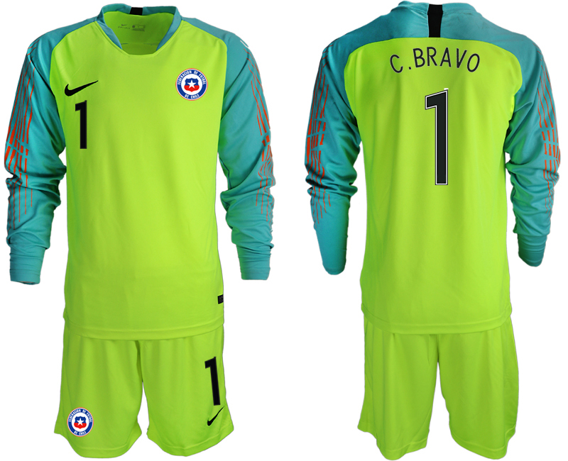 2018-19 Chile 1 C. BRAVO Fluorescent Green Long Sleeve Goalkeeper Soccer Jersey