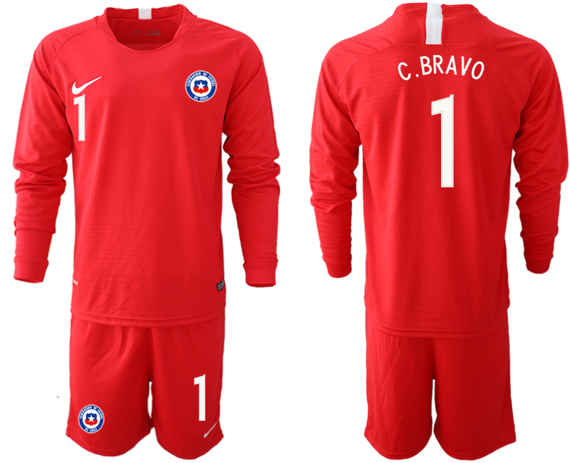 2018-19 Chile 1 C. BRAVO Home Long Sleeve Soccer Jersey