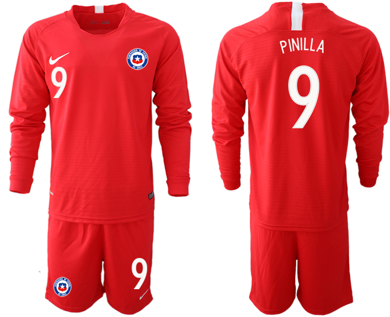 2018-19 Chile 9 PINILLA Home Long Sleeve Soccer Jersey