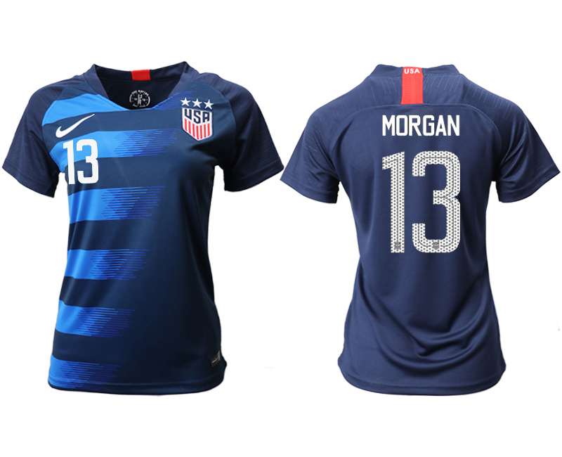 2018-19 USA 13 MORGAN Away Women Soccer Jersey