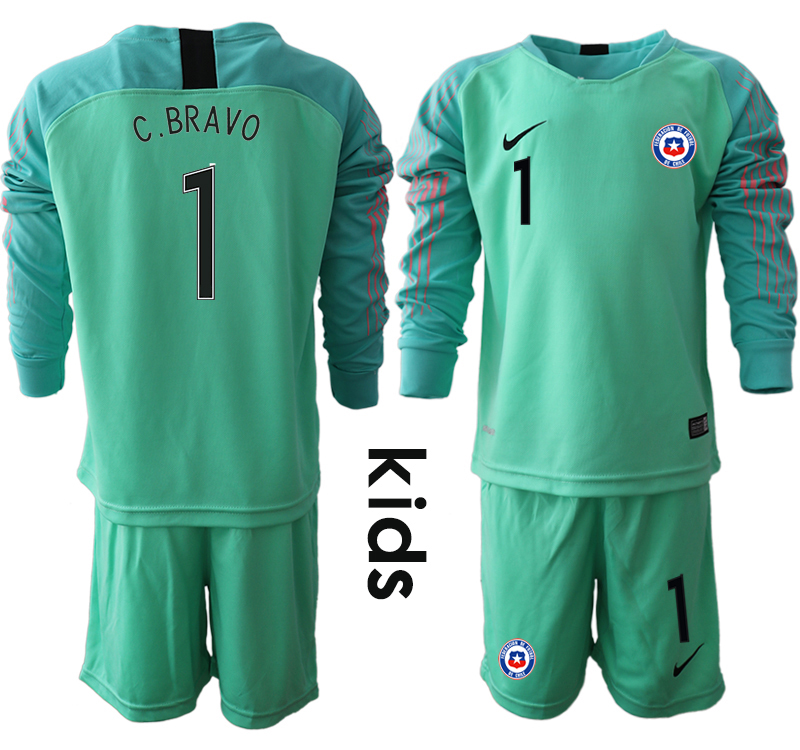 2018-19 Chile 1 C. BRAVO Green Youth Long Sleeve Goalkeeper Soccer Jersey