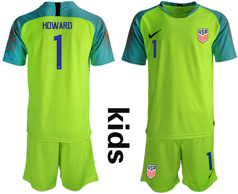 2018-19 USA 1 HOWARD Fluorescent Green Youth Goalkeeper Soccer Jersey