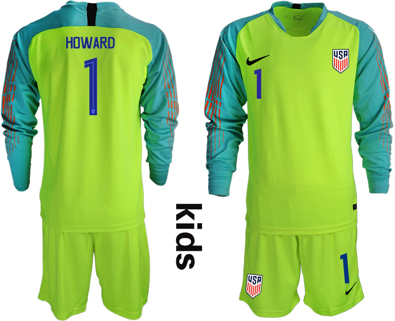 2018-19 USA 1 HOWARD Fluorescent Green Youth Long Sleeve Goalkeeper Soccer Jersey