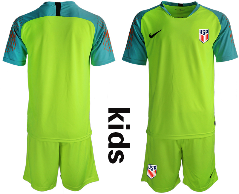 2018-19 USA Fluorescent Green Youth Goalkeeper Soccer Jersey