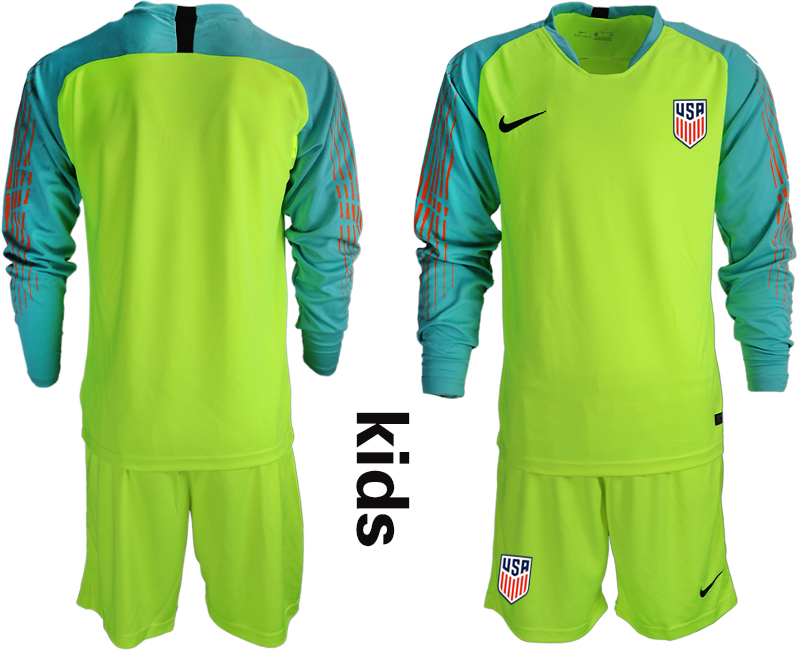 2018-19 USA Fluorescent Green Youth Long Sleeve Goalkeeper Soccer Jersey