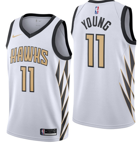 Hawks 11 Trae Young White 2018-19 City Edition Nike Swingman Jersey