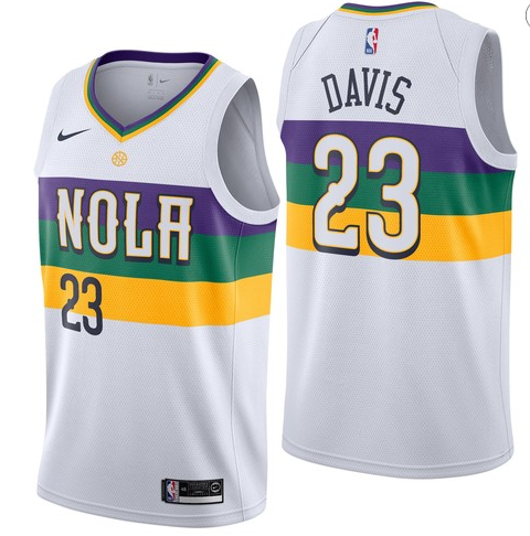 Pelicans 23 Anthony Davis White 2018-19 City Edition Nike Swingman Jersey