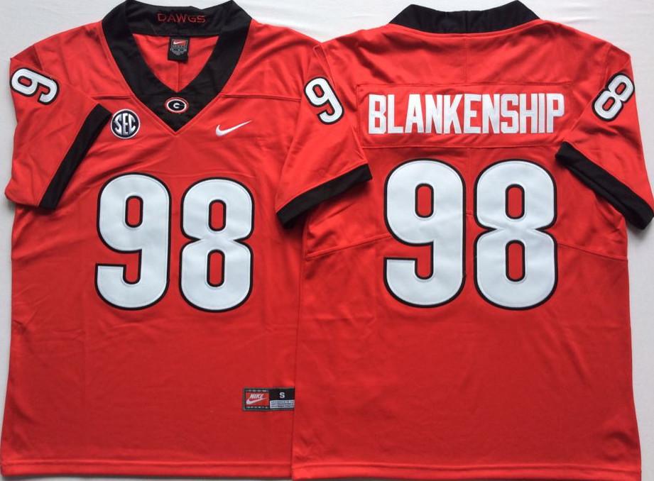 Georgia Bulldogs 98 Rodrigo Blankenship Red Nike College Football Jersey