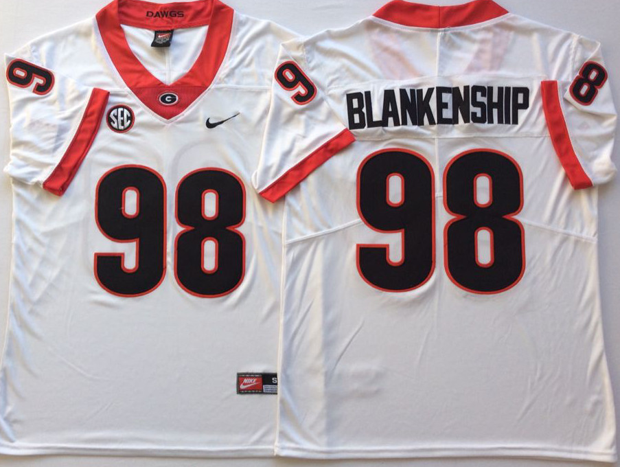 Georgia Bulldogs 98 Rodrigo Blankenship White Nike College Football Jersey