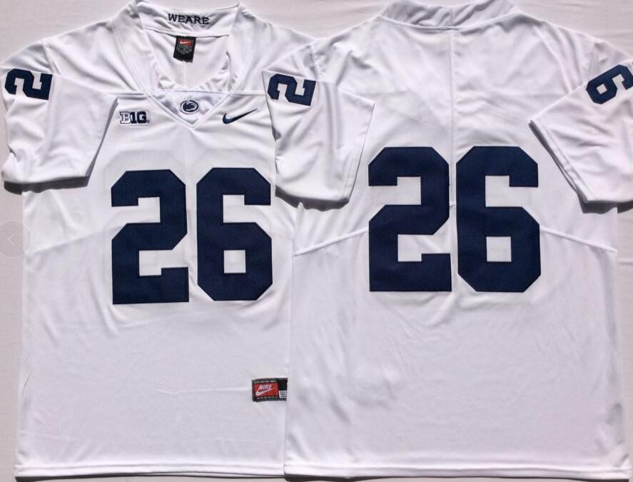 Penn State Nittany Lions 26 Saquon Barkley White Youth College Football Jersey