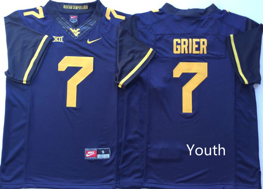 West Virginia Mountaineers 7 Will Grier Blue Youth Nike College Football Jersey