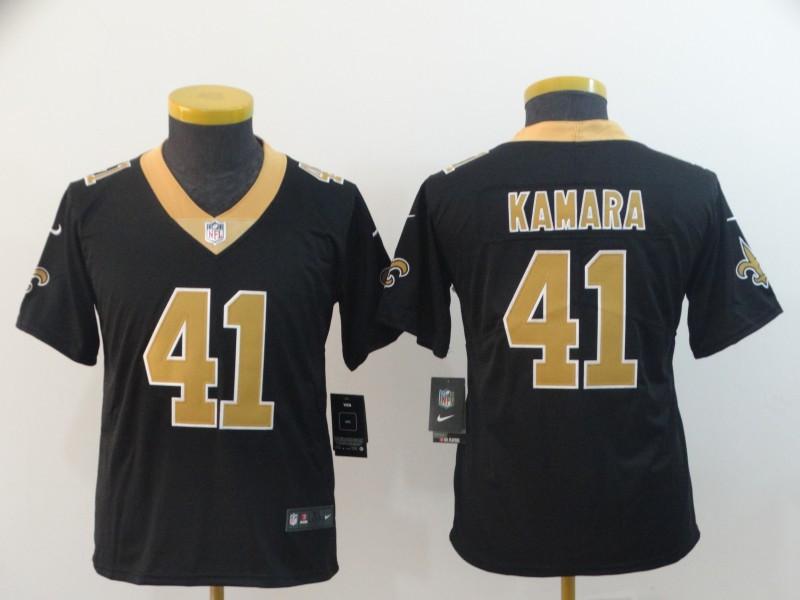 Nike Saints 41 Alvin Kamara Black Youth Vapor Untouchable Limited Jersey