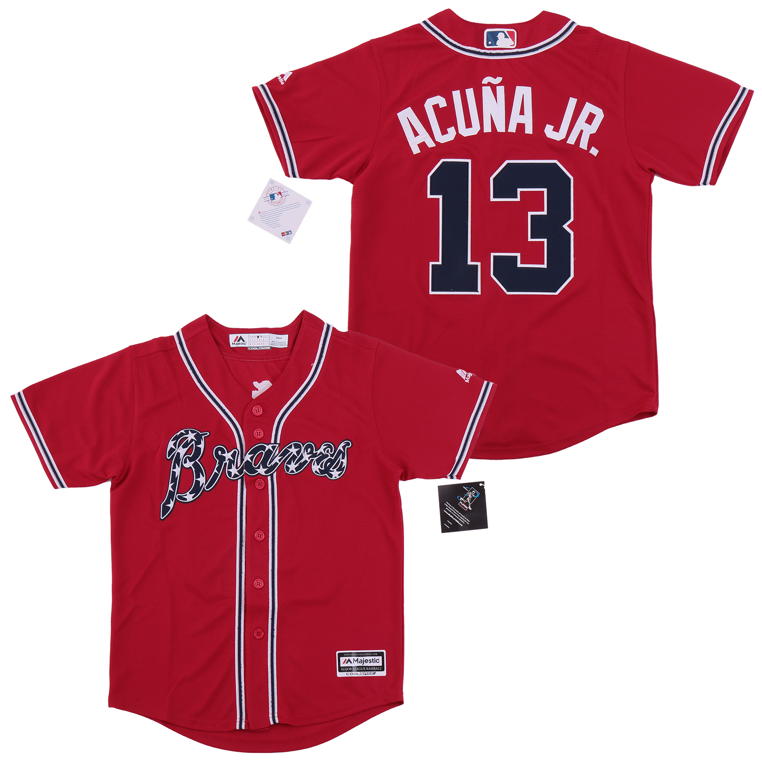 Braves 13 Ronald Acuna Jr. Red Youth Cool Base Jersey