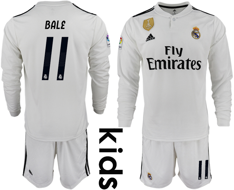 2018-19 Real Madrid 11 BALE Home Youth Long Sleeve Soccer Jersey