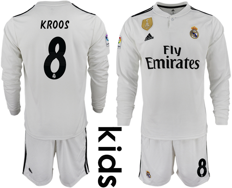 2018-19 Real Madrid 8 KROOS Home Youth Long Sleeve Soccer Jersey