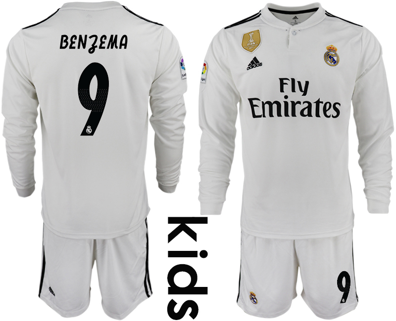 2018-19 Real Madrid 9 BENZEMA Home Youth Long Sleeve Soccer Jersey