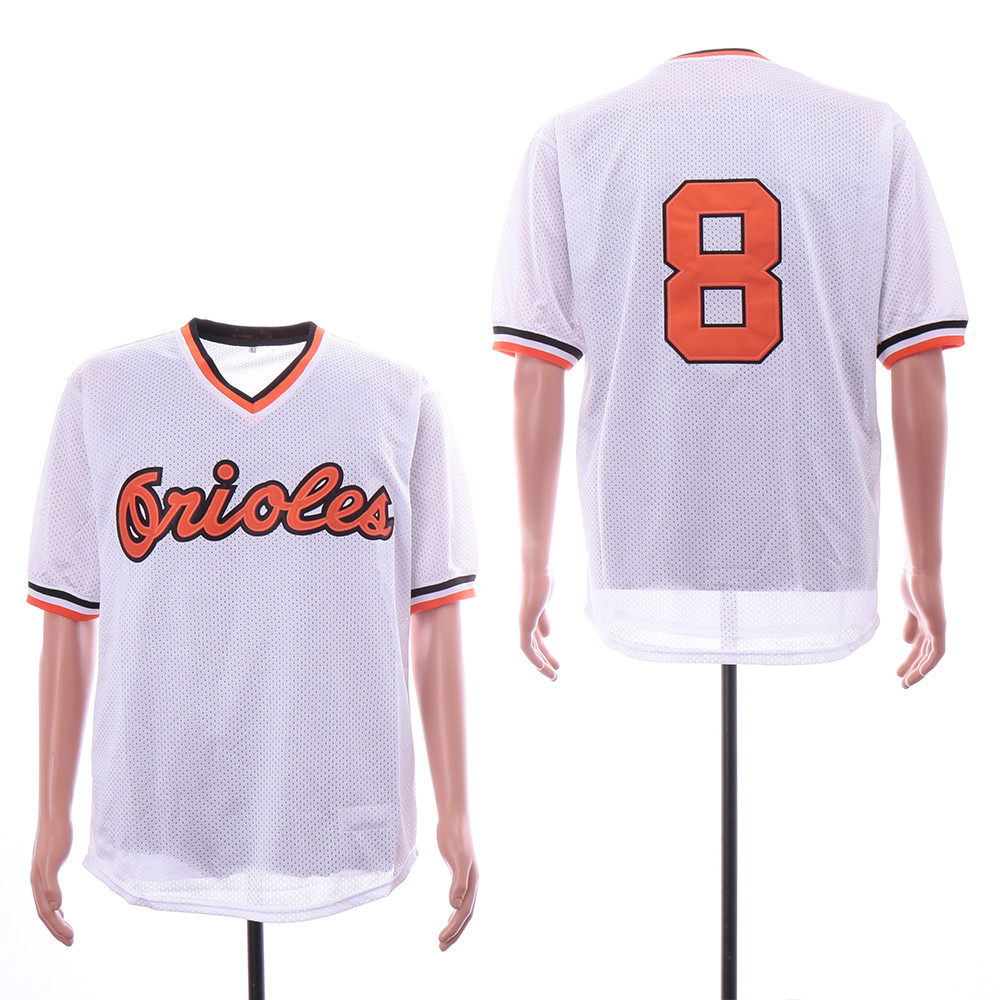 Orioles 8 Cal Ripken Jr White Mesh Throwback Jersey