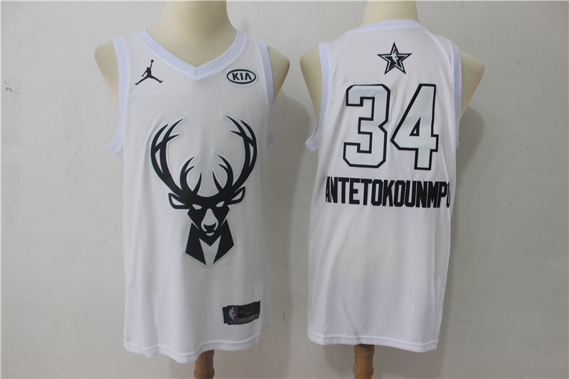 Bucks 34 Giannis Antetokounmpo White 2018 All-Star Game Swingman Jersey