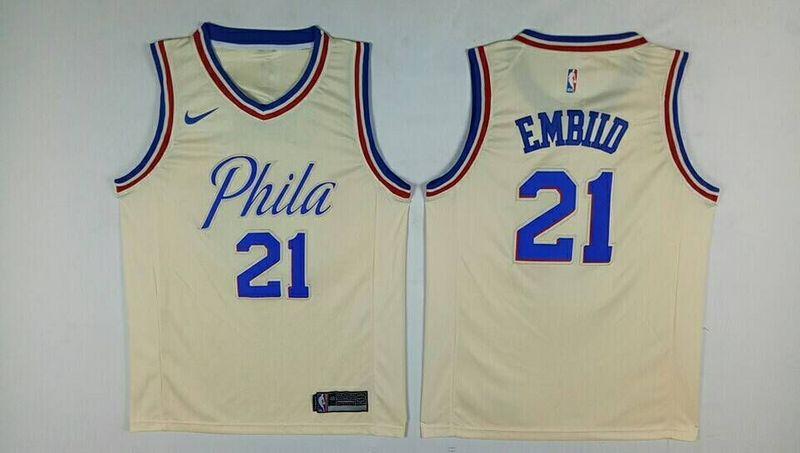 76ers 21 Joel Embiid Cream City Edition Nike Swingman Jersey