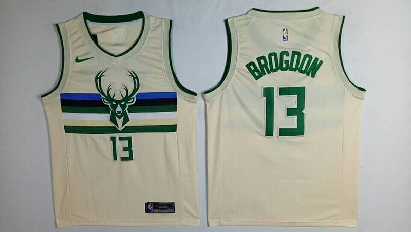 Bucks 13 Malcolm Brogdon Cream City Edition Nike Swingman Jersey