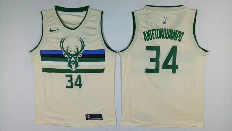 Bucks 34 Giannis Antetokounmpo Cream City Edition Nike Swingman Jersey