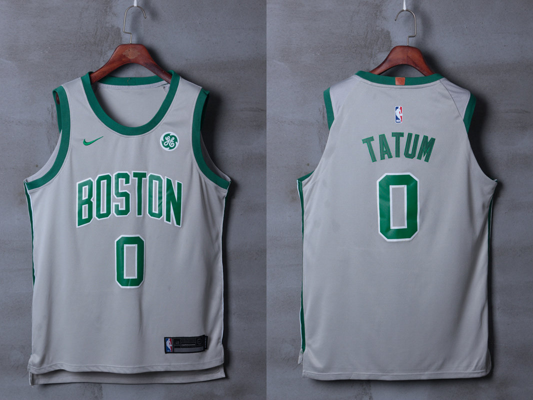 Celtics 0 Jayson Tatum Gray City Edition Nike Authentic Jersey