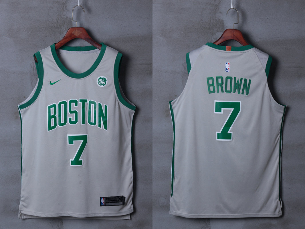 Celtics 7 Jaylen Brown Gray City Edition Nike Authentic Jersey