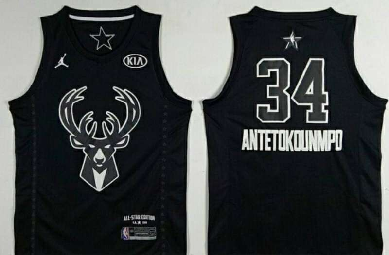 008bd2e1a Bucks 34 Giannis Antetokounmpo Black 2018 All-Star Game Jordan Brand  Authentic Jersey